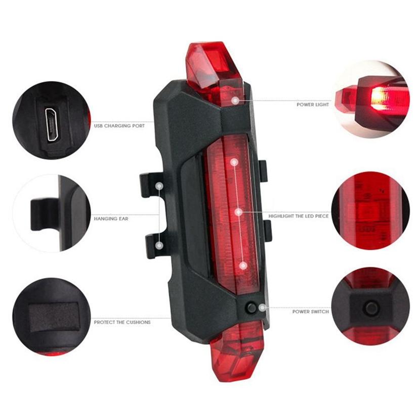 Перезаряжаемый задний фонарь для велосипеда, перезаряжаемый от USB|Велосипедная фара|   | АлиЭкспресс