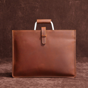Messenger Bag Men Leather Cow Brown Crazy Horse Genuine Leather Laptop Bag Work Bags And Handbags Attache Case Briefcase 0013