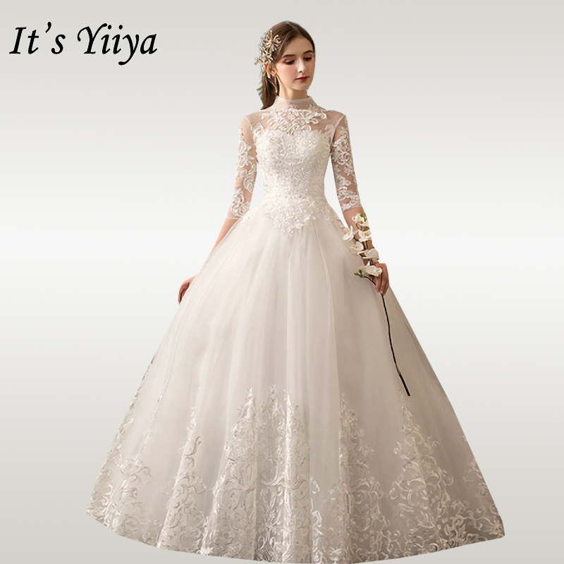 It's YiiYa Wedding Dresses For Women High Collar Wedding Dress Elegant Half Sleeve Embroidery Lace Vestido De Novia 2020 D39