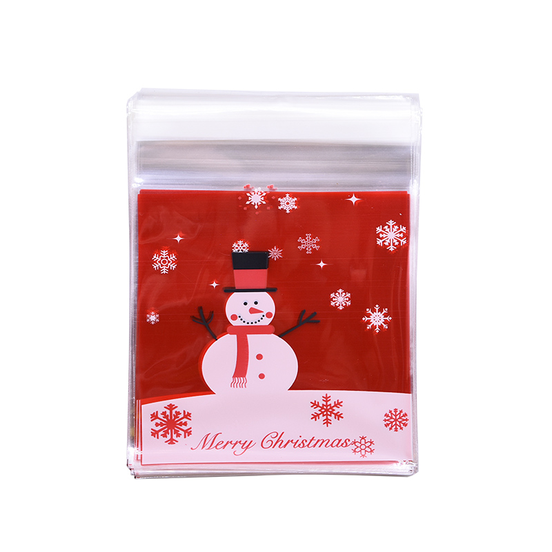 Image 4 - 50pcs 10x10cm Christmas Cookie Candy Gift Bags Plastic Self adhesive Biscuits Snack Packaging Bags Xmas Decoration Favors-in Gift Bags & Wrapping Supplies from Home & Garden