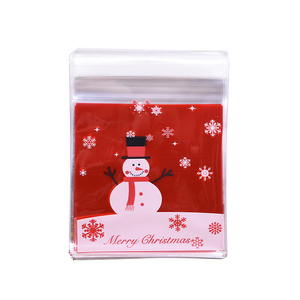 Image 4 - 50pcs 10x10cm Christmas Cookie Candy Gift Bags Plastic Self adhesive Biscuits Snack Packaging Bags Xmas Decoration Favors
