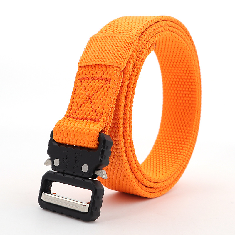 125-160CM Orange Blue Men Tactical Belt Outdoor Canvas  2.5cm  Wide Eye Snake Nylon Quick Release Thin Belt