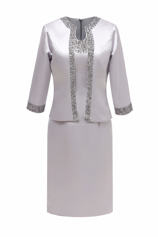 Beades Three Quarters Sleeve Satin Formal Short Mother Of The Bride Dress With Jacket For Wedding Party Vestido De Festa SLM-M07
