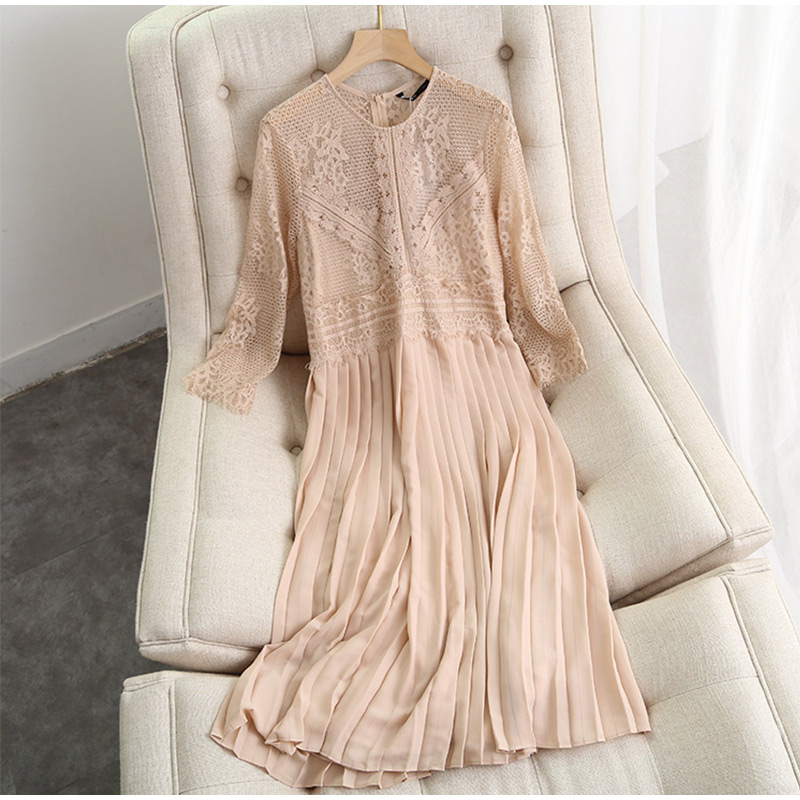 O-Neck Patchwork Pleated Solid A-Line Long Sleeve Lace Dress 5