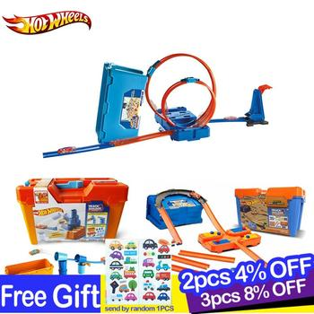 Hot Wheels Cars Track Set Multifunctional Carros Brinquedos Diecast Hotwheels Kids Toys For Children Birthday Gift oyunca FLK90 hotwheels roundabout track toy kids cars toys plastic metal mini hotwheels cars machines for kids educational car toy