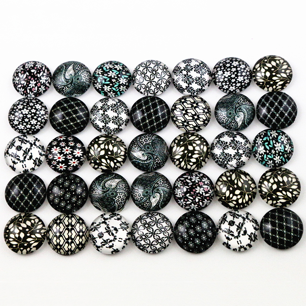 8mm-18mm Hot Sale 50pcs Black Flower Mixed Handmade Glass Cabochons Pattern Domed Jewelry Accessories Supplies