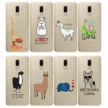 Cute Llama Alpaca Animals Cartoon Soft Silicon Phone Cases Cover For Samsung J5 J6 J7 Prime J4 Plus 2017 EU Core