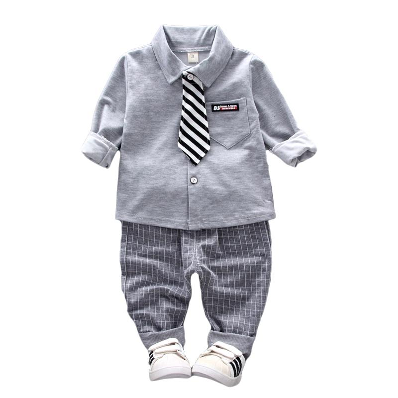 2019 Nova Primavera Bebê Roupas Meninos Laço Camisa Calças 2 pçs/sets Crianças Clothess Formais Cavalheiro Infantil Crianças de Algodão Ternos de Lazer