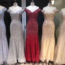 Розовое золото Дубай Роскошные с открытыми плечами Вечерние платья Блестящие сексуальные сияющие русалки официальное платье 2020 Serene Hill LA6232