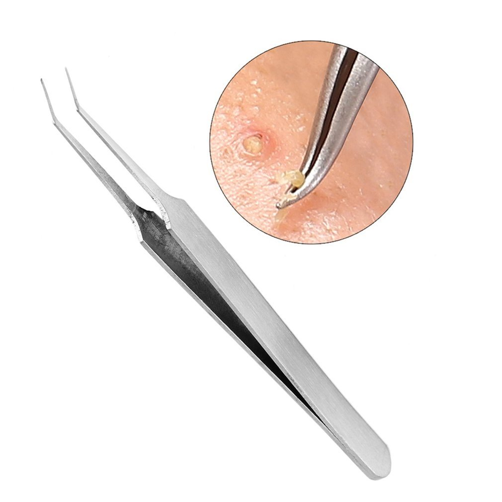 Acne Tweezers Black Head Pimples Removal Pointed Bend Gib Head Face Care Tools Blackhead Comedone Acne Extractor