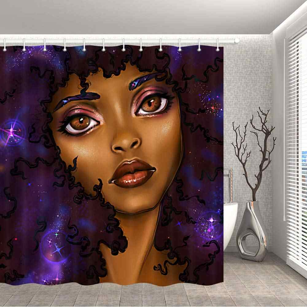 african woman shower curtain for bathroom black girl afro american pinup lady girly profession