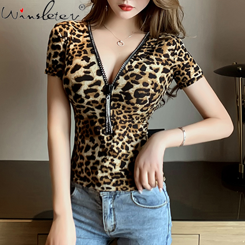 Leopard Tshirt Women Short Sleeve Print V-neck Zip