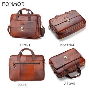 Image 3 - Fonmor Fashion sac messager pour ordinateur portable, fourre tout mallette en cuir, en cuir de vache, fourre tout Business, sacoche à main de bureau