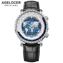 World-Time-Watches Mechanical-Watch AGELOCER Swiss Blue Waterproof Top-Brand Luxury