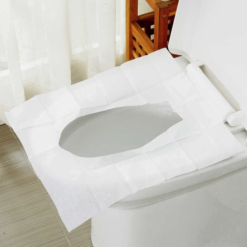 100 Pcs Disposable Waterproof Toilet Seat Cover Mat Healthy Waterproof Toilet Paper Pad Home Bathroom Accessiories Mat Portable