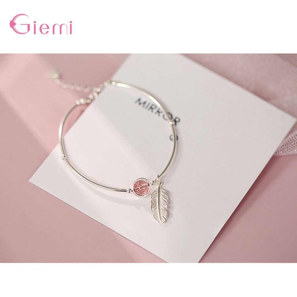 Vintage Leuke 925 Sterling Zilveren Strawberry Feather Bangle Armband Mode Trendy Charme Armband Partij Sieraden Bijoux