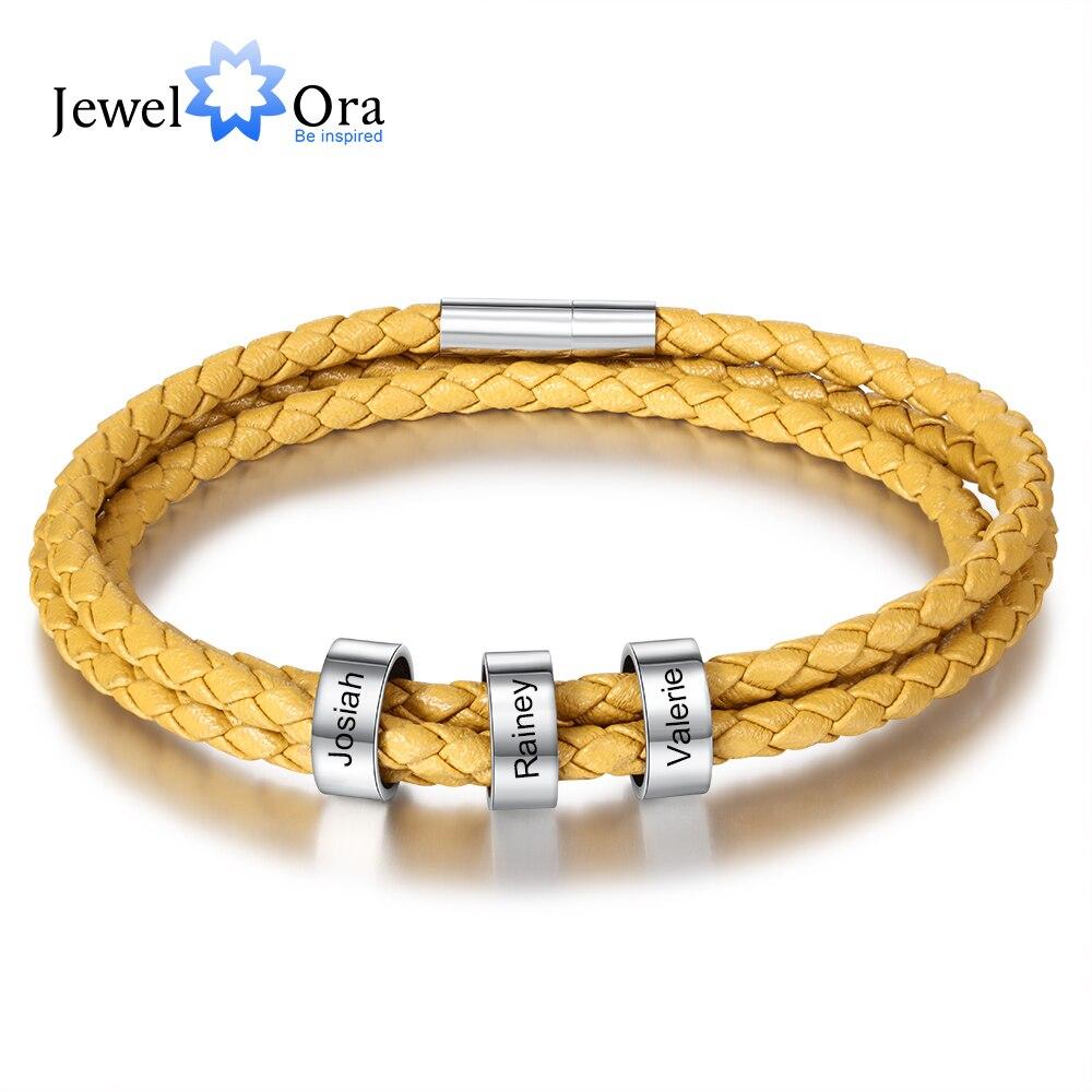 Персонализированный браслет унисекс с бусинами из нержавеющей стали с гравировкой на заказ кожаные браслеты с 3 именами для женщин и мужчин...