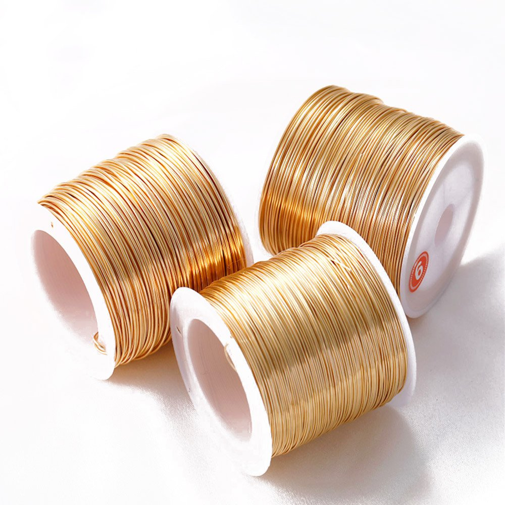 5 Meters 0.3/0.5/0.6/0.8mm Copper Brass Wire Gold Plated DIY for Jewelry Findings Making Supplies Bulk Metal Wire Accessories