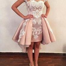 Румяна розовые юбки короткие коктейльные платья для выпускного вечера новая аппликация из белого кружева нарядное платье с открытой спиной платья для выпускного вечера