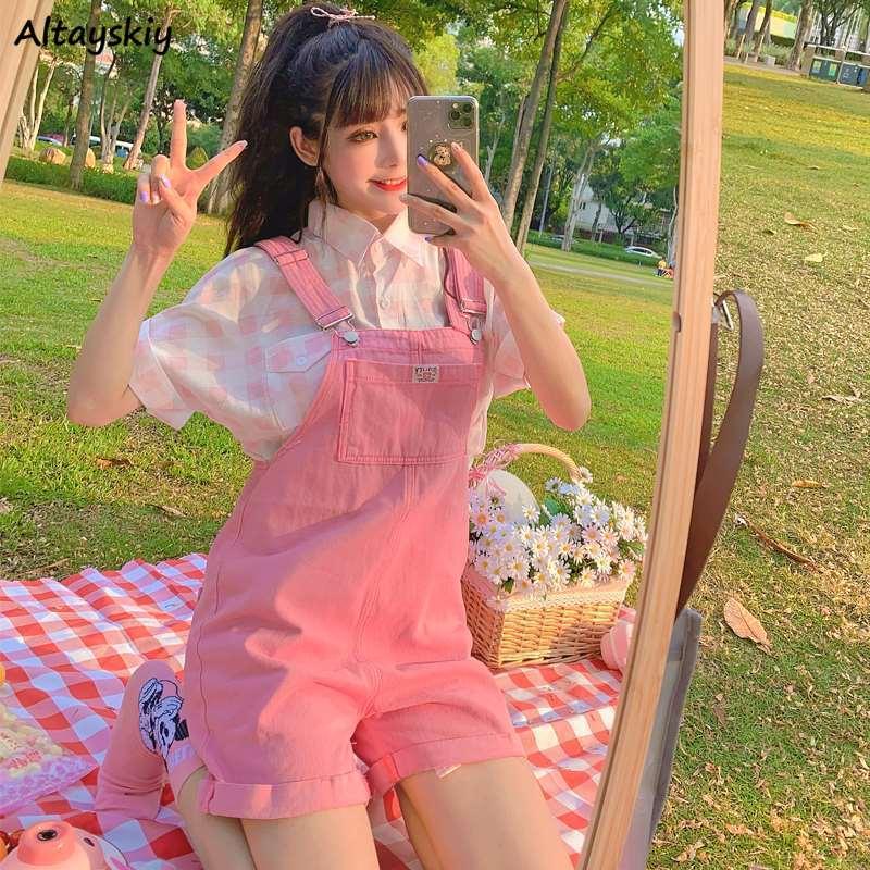 Rompers Women Purple Pink Suspenders Denim Sleeveless Vacation Sweet Girls Cute Korean Style Oversize Overalls Femme Clothing