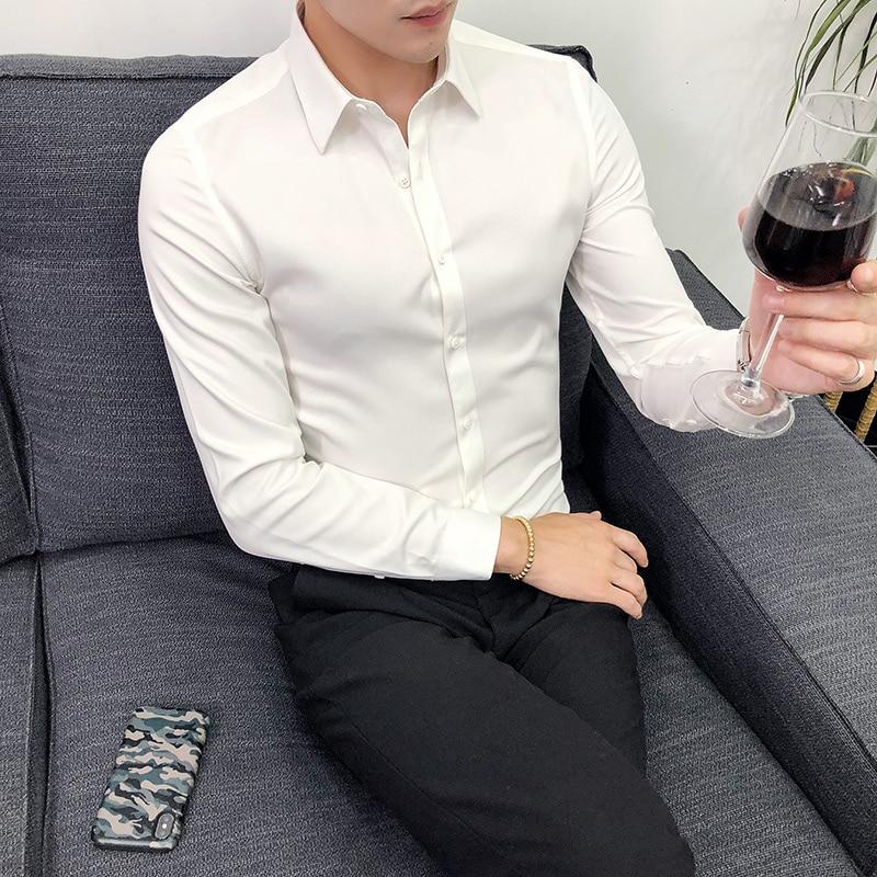 Men Shirt 2020 Male High Quality Long Sleeve Shirts Casual Solid Slim Fit Black Man Dress Shirts Causal Shirt Fashion GT09