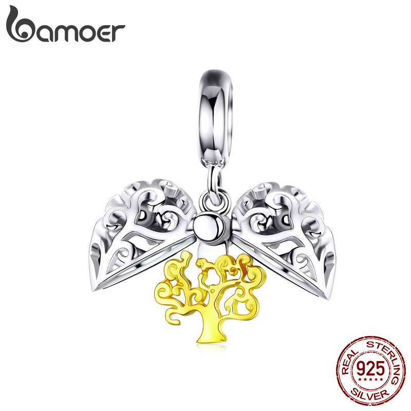 BAMOER Tree Of Life Opened Heart Pendant For Charm Bracelet Gold Color Silver 925 Fine Jewelry Necklace Pendants SCC1161