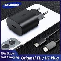 Für Samsung S21 Hinweis 20 10 A70 Super Schnelle Ladegerät Cargador 25W EU Power Adapter Für Galaxy Note20 S20 a90 A80 S10 5G Rollenmaschinenlinie Typc Kabel
