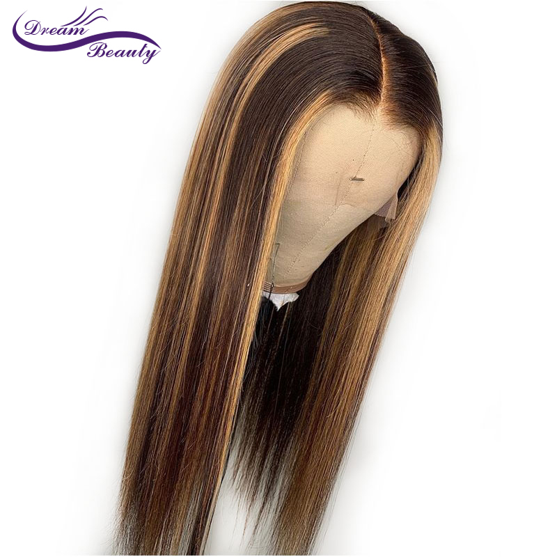 Highlight 13*4 Lace Front Human Hair Wigs With Baby Hair 8 28 Inches Straight Brazilian Remy Hair Bleached Knots Dream Beauty-in Human Hair Lace Wigs from Hair Extensions & Wigs