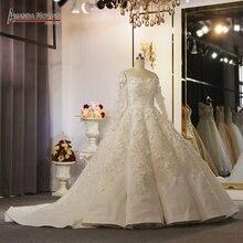 Al largo della spalla maniche lunghe fiori vestito da cerimonia nuziale pieno bordare africa abito da sposa