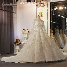 Off the shoulder long sleeves flowers wedding dress full beading africa bridal dress