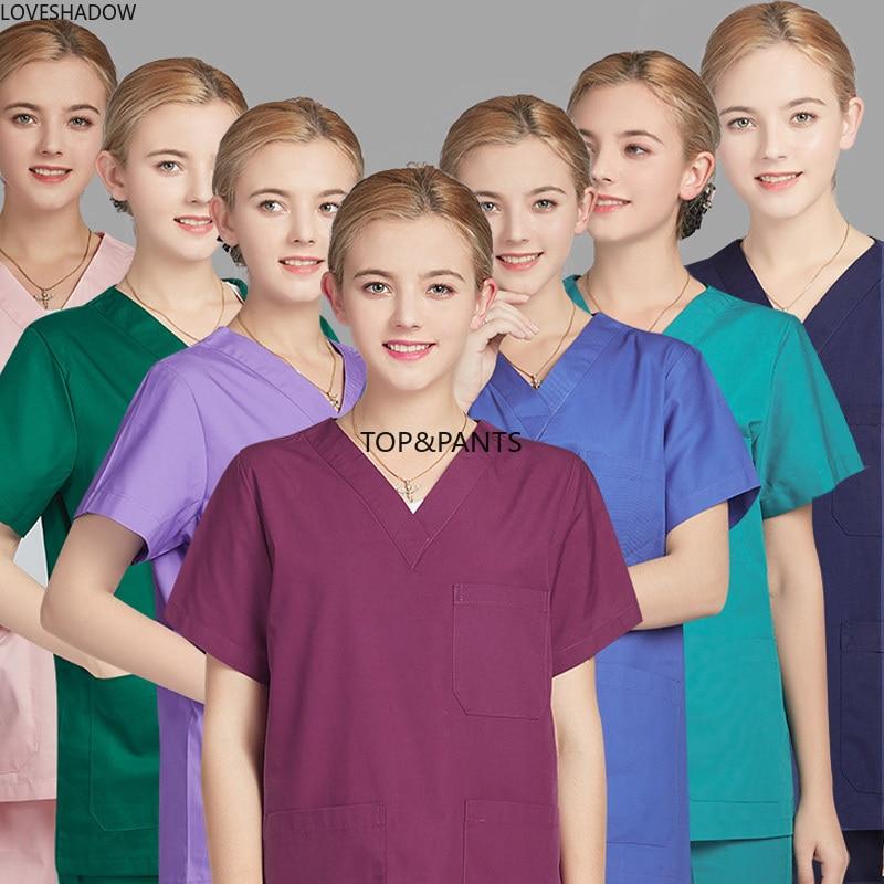 [set] Classic V Neck Pure Cotton Medical Uniforms Solid Color Scrubs Short Sleeve Side Vent Hospital Workwear Doctor Vet Clothes