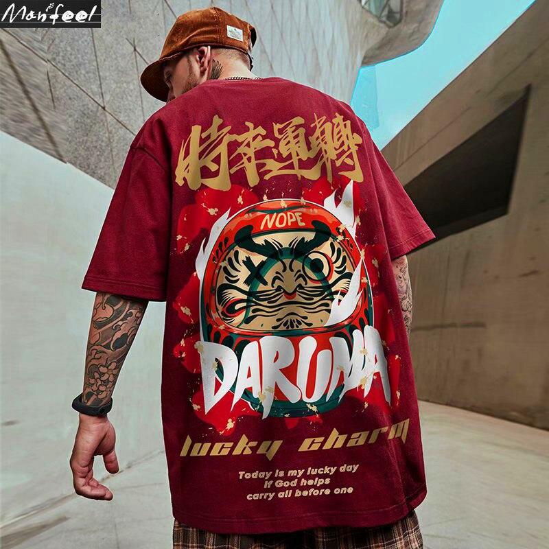 Футболка мужская с принтом на удачу, хлопковая Повседневная рубашка в китайском стиле, с коротким рукавом, в стиле хип-хоп, уличная одежда в ...