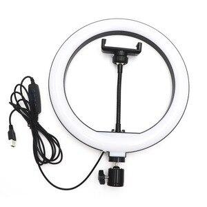 Image 2 - 10 인치 USB 디 밍이 가능한 LED Selfie 링 라이트 스튜디오 링 라이트 카메라 전화 사진 비디오 메이크업 램프 전화 클립 홀더