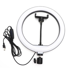 Image 2 - 10 inch USB Dimmable LED Selfie Ring Light Studio Ring Light Camera Phone Photography Video Makeup Lamp With Phone Clip Holder