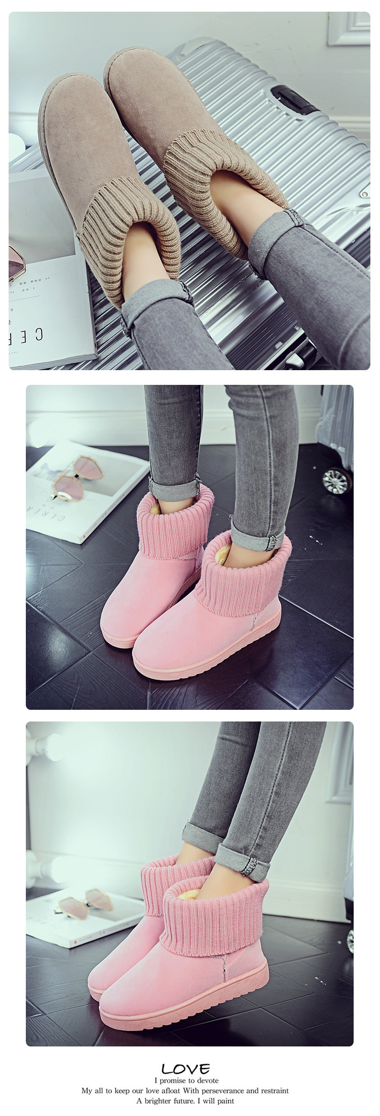 Women's new snow boots winter fashion wild classic women's shoes simple warm non-slip waterproof wool shoes ladies ankle boots 61