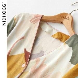 Image 4 - New Satin Floral Printing Pajama Set Fashion Long Sleeve Pijamas Women V Neck Loungewear Set 2 Piece Home Clothes Sleepwear 2020
