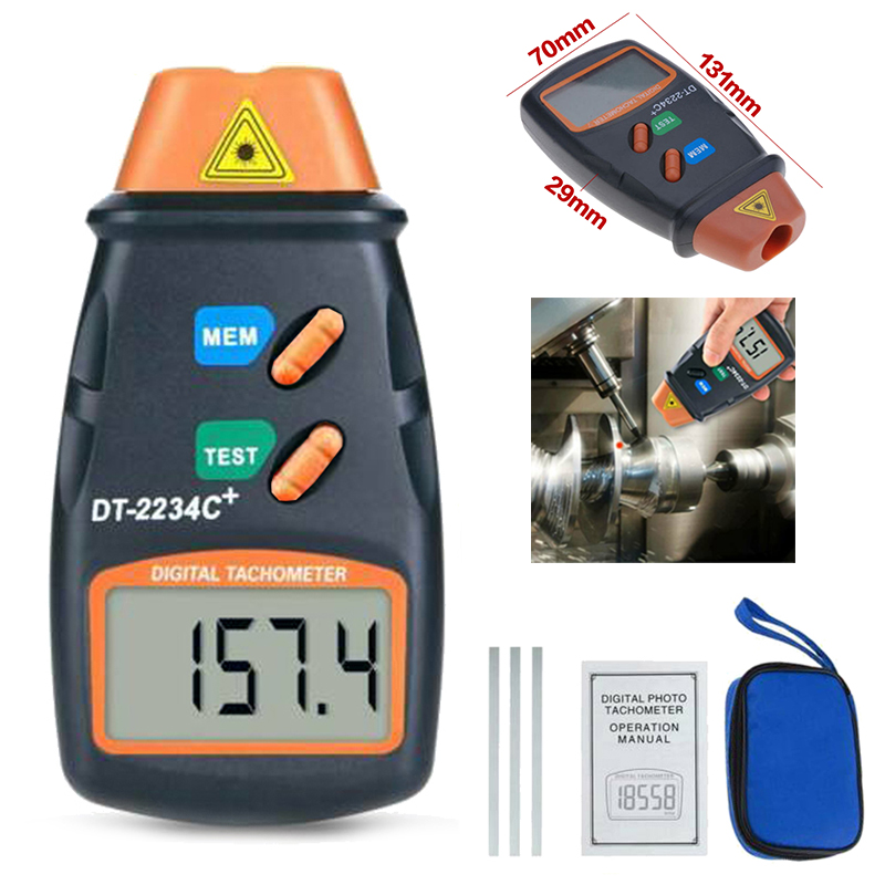 Digital Laser Rev Counter Meter DT2234C Non-contact Tachometer Rev Counter Machine Motors Rotation Speed Tesing Tool 131*70*29mm