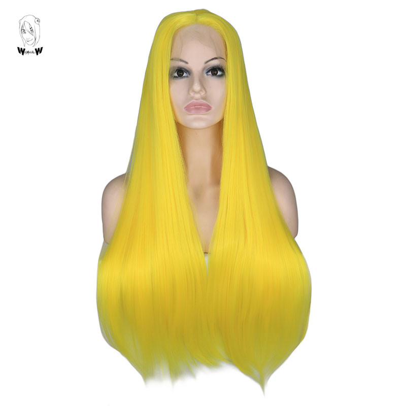 WHIMSICAL W  Yellow Long Straight Lace Front Synthetic Wig Long Silky Wigs for Women Natural Hairline Hand Tied Hair