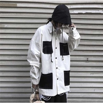 NiceMix shirt Block Contrast Pocket Streetwear Loose Plus Size Top Shirt Harajuku Punk Hip Hop Korean blouse women plus size