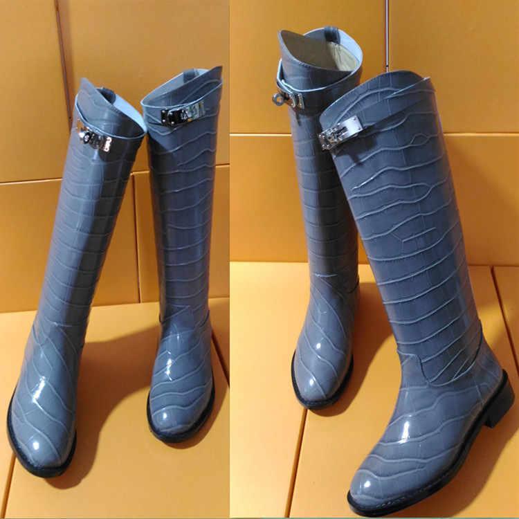 Winter Laarzen Vrouwen Knight Botas Mujer Luxe Schoenen Vrouwen Krokodil Bota Feminina Knie