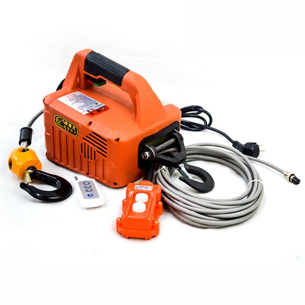 110V/220V Portable Electric Winch Electric Lifting Traction Hoist Electric Hoist Windlass Load 500KG 60M Remote Control