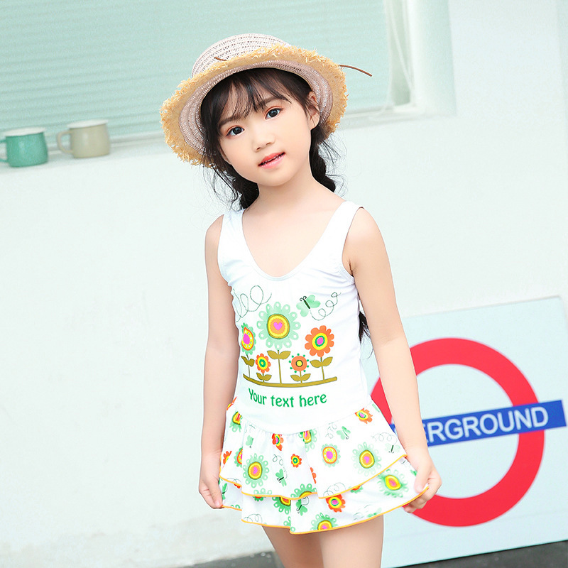 Amoi GIRL'S Swimsuit Korean-style Siamese Swimsuit Sleeveless Princess Skirt Beach Hot Springs Play With Water Service Breathabl