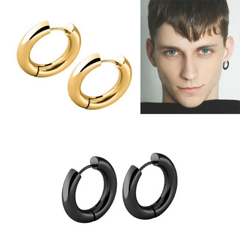 PUN altın erkekler metal çember hoop küpe daire yuvarlak takılar paslanmaz çelik küpe titanium piercing bricos kulak çemberler punk