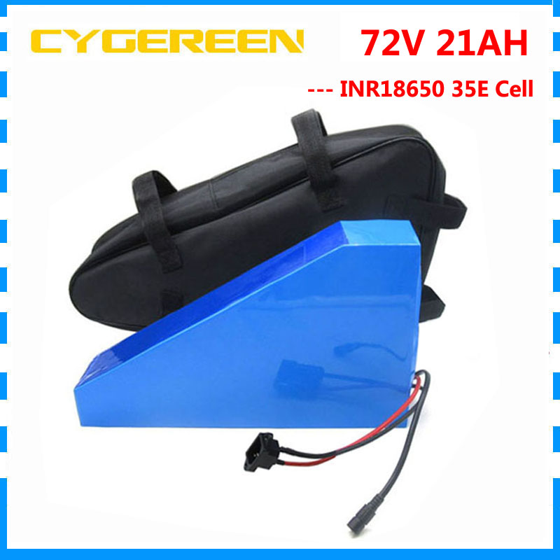 High quality 72V 20AH battery pack 72V 21AH triangle battery 72 V bicycle battery use Samsung 3500mah cell 40A BMS with free bag