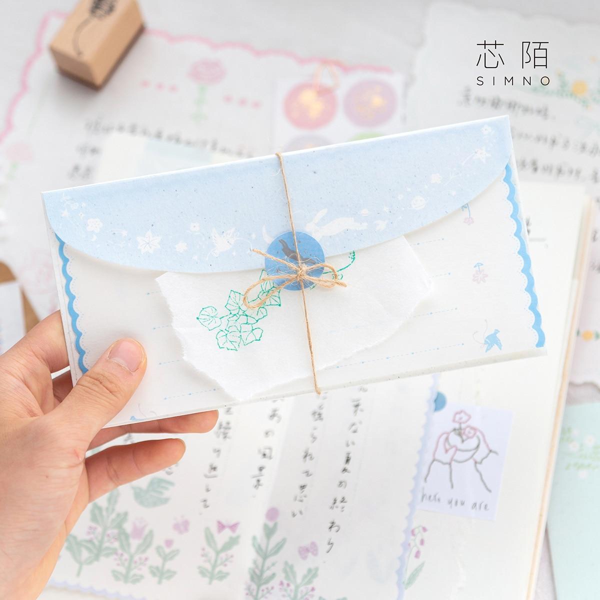 Kawaii Paper Envelopes Cash Envelope Set 1 Paper Envelope+6 Letter Paper+1 Sealing Sticker Envelope Wedding For Invitations