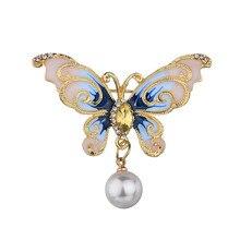 Elegant Animal Butterfly Rhinestone Brooch Pin Imitation Pearl Fashion Brooches Flower Gift For Women