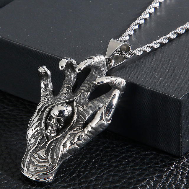 STAINLESS STEEL SKULL CLAW NECKLACE