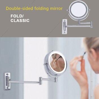 Espejo De Maquillaje Montado En La Pared De Alta Calidad Luz LED De Dos Lados 360 Espejo Giratorio Aumento De 5X Para Baño --- MS