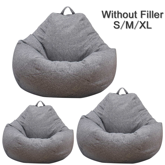 Large Small Lazy Sofas Cover Chairs without Filler Linen Cloth Lounger Seat Bean Bag Pouf Puff Couch Tatami Living Room 1