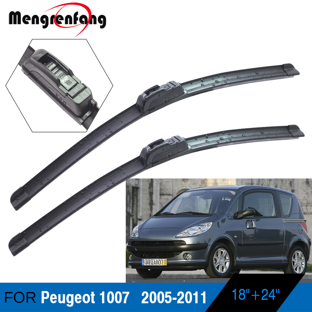 For Peugeot 1007 Car Front Windscreen Wiper Blades Soft Rubber Wiper J Hook Arms Accessories 2005 2006 2007 2008 2009 2010 2011|Windscreen Wipers|   - title=